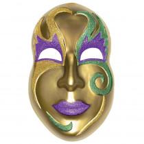 Amscan 21 in. Mardi Gras Gold Plastic Mask 3D Decoration (2-Pack)