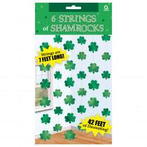 Amscan 7 ft. St. Patrick's Day Green Foil Shamrock String Decoration (6-Count, 3-Pack)