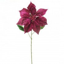 29 in. Christmas Velvet Poinsettia Flower Stems with Glitter, Color - Fuchsia (3-Set)