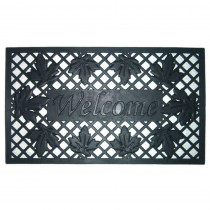 Nedia Home Lattice and Leaves 18 in. x 30 in. Rubber Door Mat