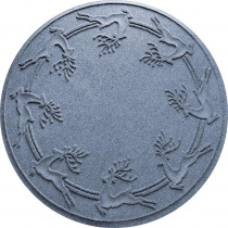 Bungalow Flooring Aqua Shield Bluestone 35 in. Round Reindeer Run Under the Tree Mat