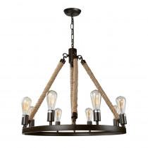 LNC 8-Light Bronze Rustic Rope Chandelier