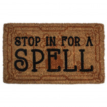 Entryways Stop in for a Spell 18 in. x 30 in. Hand Woven Coconut Fiber Door Mat