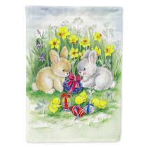 Caroline's Treasures 11 in. x 15-1/2 in. Polyester Easter Bunnies with Eggs 2-Sided 2-Ply Garden Flag