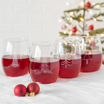 Cathy's Concepts Holiday Trees 3 in. x 5 in. Clear Stemless Wine Glasses (Set of 4)