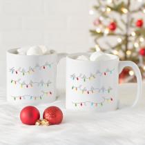 Cathy's Concepts Fa La La 3.8 in. x 4.1 in. White Ceramic Large Coffee Mugs (Set of 2)