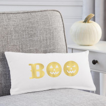 Cathy's Concepts 18 in. L x 9 in. W Gold Boo Halloween Lumbar Pillow
