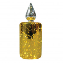 7 in. Mercury Glass LED Color Changing Glass Candle in Gold