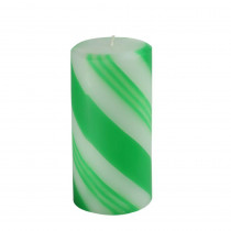 3 in. x 6 in. Scented Green Candy Cane Pillar Candle(12-Box)
