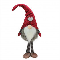 19.5 in. Red and Gray Striped Finn Standing Chubby Santa Gnome Table Top Christmas Figure