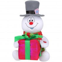 10.24 in. Animated Lightshow Plush Frosty with Present