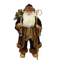 24 in. Brown and Bronze Standing Santa Claus Christmas Figure with Staff