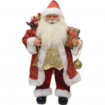 24.5 in. Snazzy Standing Santa Claus Christmas Figure with Ornament and Gifts