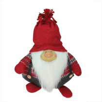 14 in. Charcoal Gray and Red Doug Gnome Christmas Tabletop Decoration