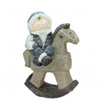 18 in. Sparkly Little Boy on Rocking Horse Decorative Christmas Tabletop Figure
