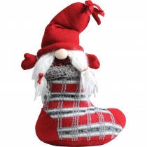 10 in. Red and Gray Isolde Gnome in Christmas Stocking Tabletop Decoration