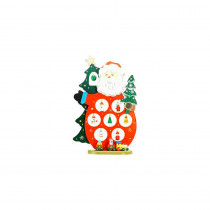10.25 in. Wooden Santa Claus Cut-Out with Miniature Ornaments Christmas Table Top Decoration