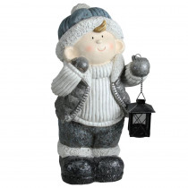 18.5 in. Snowy Woodlands Little Boy Holding Tea Light Lantern Christmas Tabletop Figure