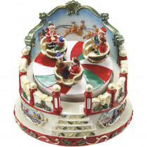 5 in. Animated Christmas Ride Figurine Winter Scene Rotating Music Box