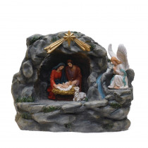 18.5 in. Holy Family and Angel Religious Nativity Fountain with Lamp Table Top Christmas Decoration