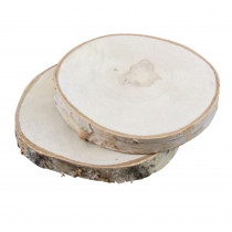 10-12 in. Christmas Round Cut Wooden Birch Discs with Bark with 1 in. H (2-Set)