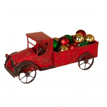 18.5  in. L Red Metal Antique Truck