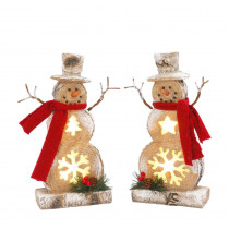 10 in. H Resin Snowmen (2-Set)
