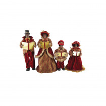 15 in. to 18 in. African American Victorian Carolers with Caroling Books, (4-Set)
