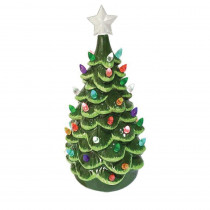 14 in. Christmas Green Ceramic Tree with Lights
