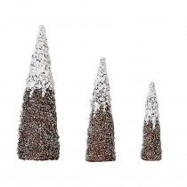 18 in., 24 in. and 31 in. Nested Snow and Silver Glitter Cone Tree (3-Set)