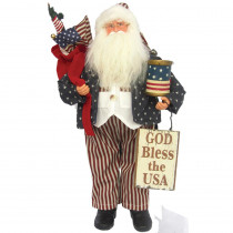 18 in Christmas God Bless the USA Santa with Sign