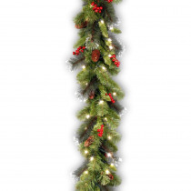 9 ft. Crestwood Spruce Garland with Battery Operated Warm White LED Lights