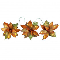 18-Light Battery Operated LED Gold 3-Poinsettia Flower Garland
