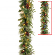 9 ft. Colonial Garland with Battery Operated Dual Color LED Lights