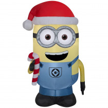 42 in. Inflatable Airblown- Minion Dave with Candy Cane