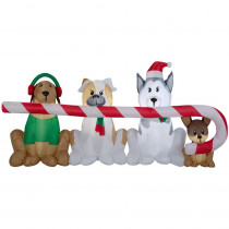 8 ft. W Pre-lit Inflatable Puppies Sharing a Big Candy Cane Airblown Scene