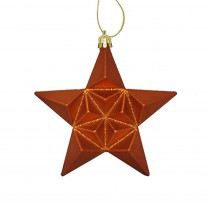 5 in. Matte Burnt Orange Glittered Star Shatterproof Christmas Ornaments (12-Count)