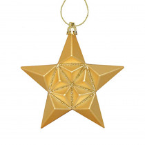 5 in. Matte Vegas Gold Glittered Star Shatterproof Christmas Ornaments (12-Count)