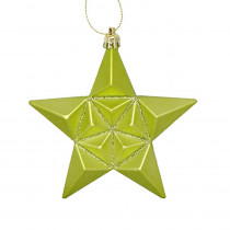 5 in. Matte Green Kiwi Glittered Star Shatterproof Christmas Ornaments (12-Count)