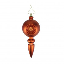 7.5 in. Matte Orange Retro Reflector Shatterproof Christmas Finial Ornaments (4-Count)