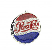 3 in. Silver Plated Classic Pepsi-Cola Bottle Cap Logo Christmas Ornament with European Crystals
