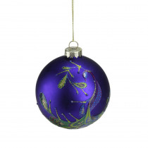 4 in. Regal Peacock Purple Glittered Glass Ball Christmas Ornament