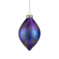 5 in. Regal Peacock Purple, Blue and Gold Glittered Glass Finial Christmas Ornament