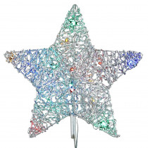 12 in. 18-Light LED Multi-Color 5-Star Metal Tree Topper
