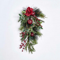 25 in. Pine Teardrop with Pomegranate and Rose