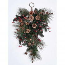 27 in. Pine Berry Cone Jingle Bell Teardrop