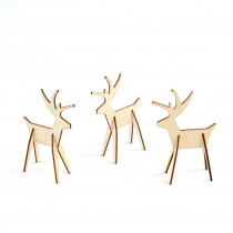 3 in. Christmas Alpine Reindeer Decorations in Natural (8-Piece)
