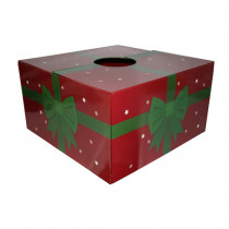 20 in. Red with Green Ribbon Original Christmas Tree Skirt Box