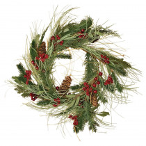 26 in. Mixed Pine and Berry Wreath