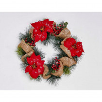 20 in. Poinsettia Wreath with Burlap on Natural Twig Base